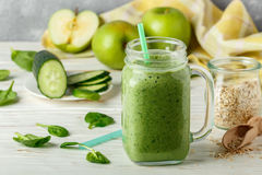 Fresh green smoothie from fruit and vegetables for a healthy lifestyle Royalty Free Stock Image