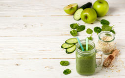 Fresh green smoothie from fruit and vegetables for a healthy lifestyle Stock Image