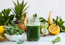 Fresh green smoothie Stock Photos