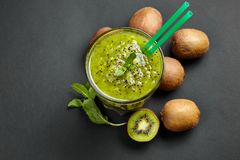 Fresh green smoothie with kiwi and mint . Love for a healthy raw food concept. Healthy eating. Fruit Smoothies. Kiwi Stock Photography