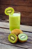Fresh green smoothie and kiwi. Toned image Royalty Free Stock Image