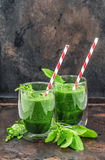Fresh green spinach leaves smoothie. Healthy food concept Royalty Free Stock Photo