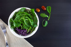 Fresh green spring salad with arugula and tomato. Fresh green spring salad  on black wooden desk Stock Images