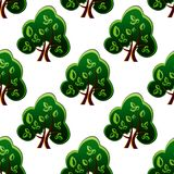 Fresh green spring trees seamless pattern Royalty Free Stock Photos