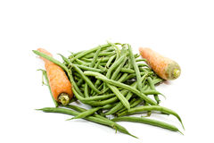 Fresh Green Stick beans with Carrots Royalty Free Stock Photo