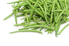 Fresh green string beans isolated on a white background. Empty space for text royalty free stock photography