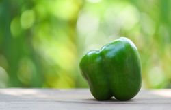 Fresh green sweet bell pepper wooden and nature green background. Fresh green sweet bell pepper on wooden and nature green background royalty free stock photo