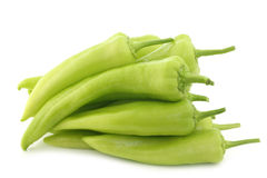 Fresh green sweet peppers (banana peppers) Stock Photos