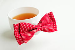 Fresh green tea and bow-tie Stock Photo