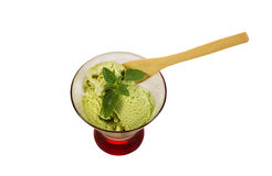 Fresh Green Tea Ice Cream with Mint Leaf isolated on White Stock Image