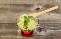Fresh Green Tea Ice Cream and Mint Leaf ready to eat Royalty Free Stock Images
