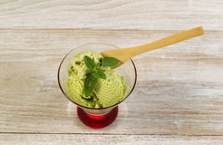 Fresh Green Tea Ice Cream ready to eat Royalty Free Stock Images