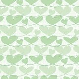 Fresh green transparent pastel hearts with watercolor grid texture. Seamless vector pattern on white background. Perfect. For health concepts, wedding, beauty vector illustration