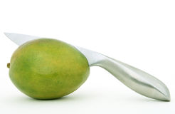 Fresh green tropical mango fruit Stock Photos