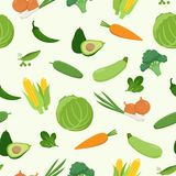 Fresh green various vegetables seamless pattern in flat design. Set of vector vegetables. Cabbage, carrot, corn, avocado. Pepper, cucumber, zucchini, peas stock illustration