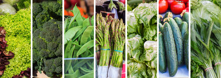 Fresh Green Vegetable Collage Stock Photography