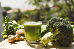 Fresh green vegetable juice Stock Photos