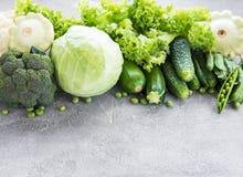 Fresh green vegetables stock photos