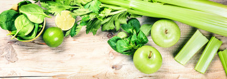 Fresh green vegetables and fruits. Detox and diet concept Stock Image