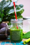 Fresh green vegetables and fruits, ingredients for dietary healthy green detox smoothie or salad stock images