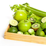 Fresh green vegetables and fruits Royalty Free Stock Photos