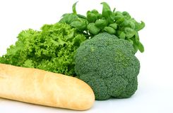 Fresh green vegetables, isolated over white stock photos