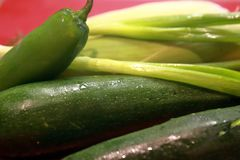 Fresh green vegetables ready to prep for cooking Royalty Free Stock Photography