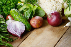 Fresh green vegetables set Royalty Free Stock Image