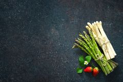 Fresh green and white asparagus Royalty Free Stock Photography