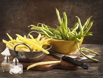 Fresh Green and Yellow Beans Royalty Free Stock Photography