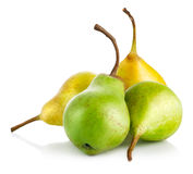 Fresh green and yellow pears Royalty Free Stock Photos