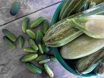 Fresh green zucchini and cucumbers. On wooden table Royalty Free Stock Images