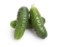 Fresh greenhouse cucumbers. On white background Stock Photography