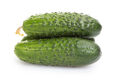 Fresh greenhouse cucumbers. On white background Royalty Free Stock Image