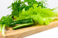 Fresh greens. On wooden board Stock Photo
