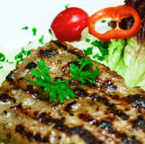 Fresh grill steak and vegetable salad macro Stock Images