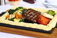 Fresh grilled Beef Steak. Delicious Fresh grilled Beef Steak with garniture Royalty Free Stock Images
