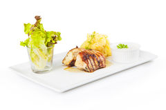 Fresh grilled chicken with potato purre Royalty Free Stock Photography