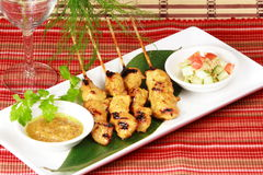 Fresh grilled chicken shish kebobs (kebabs) Stock Photography