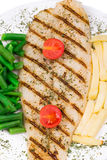 Fresh grilled fillet of pangasius Stock Photo
