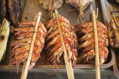Fresh grilled prawns in kep market cambodia Stock Photos