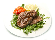 Fresh grilled red meat with vegetables Stock Photos