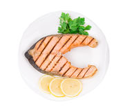Fresh grilled salmon steak. Royalty Free Stock Images