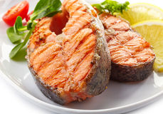 Fresh grilled salmon steak slices Royalty Free Stock Photo