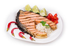 Fresh grilled salmon steak. Stock Image