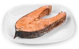 Fresh grilled salmon steak. On a white background Stock Photo