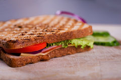 Fresh grilled sandwich. Fresh home made ham grilled sandwich on wood royalty free stock images