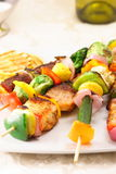 Fresh grilled shish kabobs. Assorted meats shish kabobs a delicious fusion in flavor and presentation Stock Images