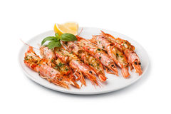 Fresh grilled shrimps Stock Photos