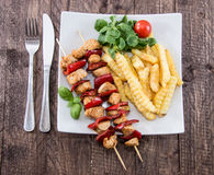 Fresh grilled Skewer with french fries Stock Photos